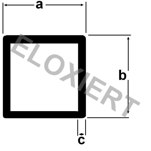 Aluminium vierkantrohr 20x20x1 5mm eloxiert 2m lang - Vierkantrohr stahl tabelle ...