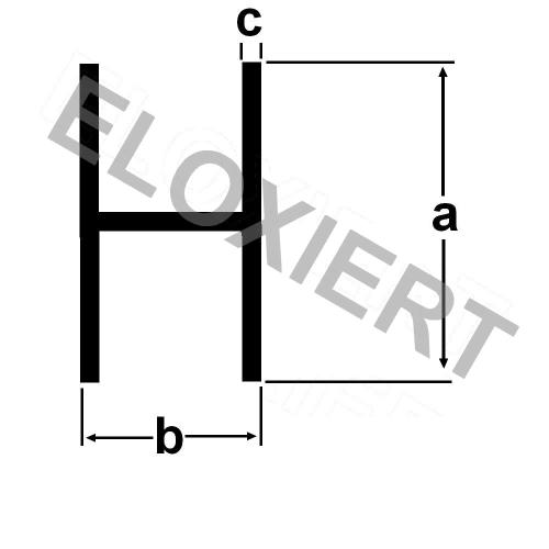 alu h profil innenma 13mm klemmprofil 2 meter lang alu. Black Bedroom Furniture Sets. Home Design Ideas