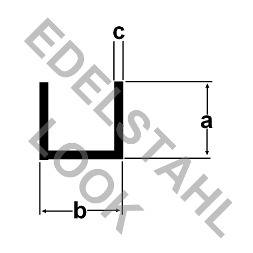 alu u profil 20x20x20x2mm geb rstet eloxiert edelstahl look 1 meter aluprofil aluminium alu. Black Bedroom Furniture Sets. Home Design Ideas