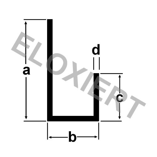 u profil 25x10 6x12x1mm aluminiumprofil eloxiert 1m alu. Black Bedroom Furniture Sets. Home Design Ideas