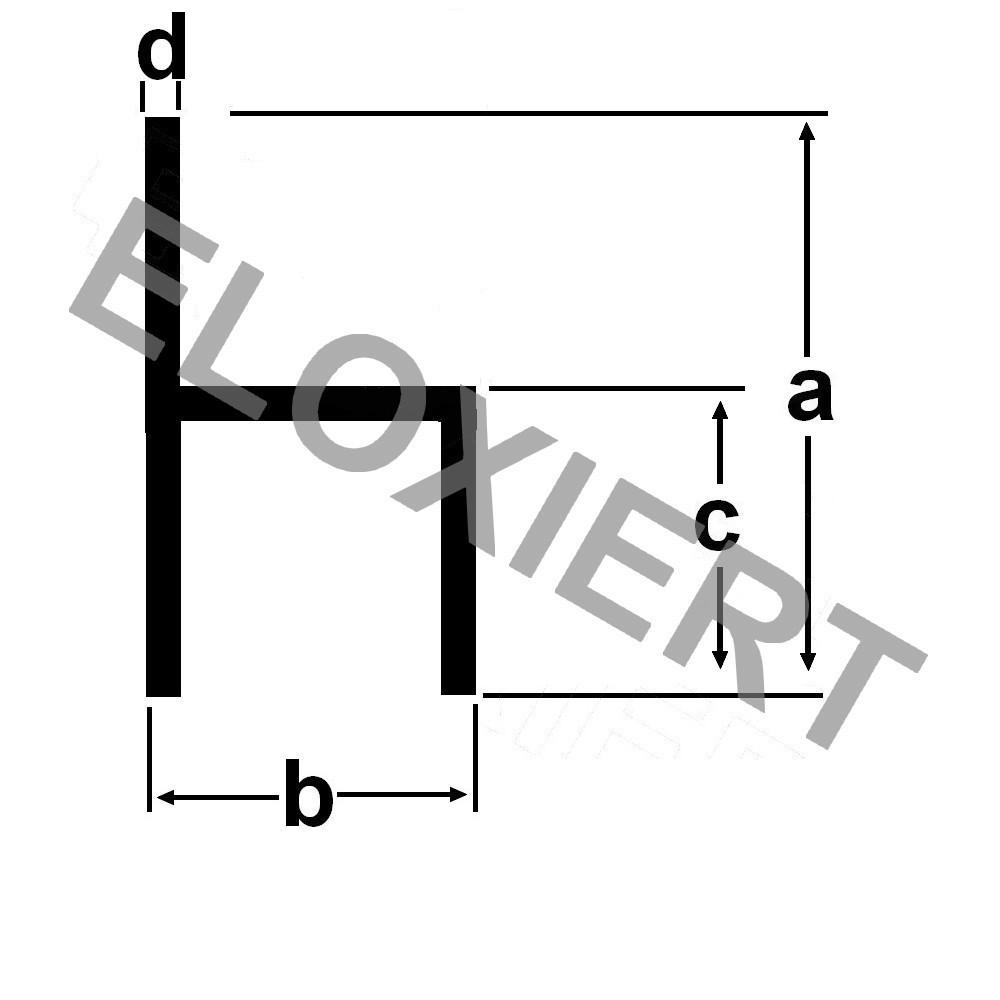 kleines h profil eloxiert 15x20x10x1 5mm aluprofil. Black Bedroom Furniture Sets. Home Design Ideas