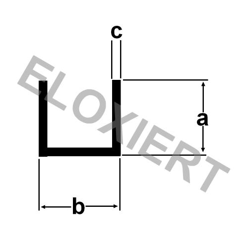 Alu U-Profil 10x20x10x2mm ELOXIERT E6//EV1 Aluminium 1m